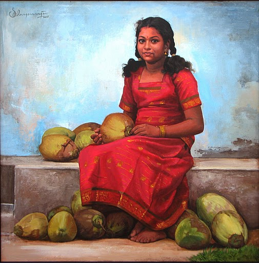 girl with coconuts